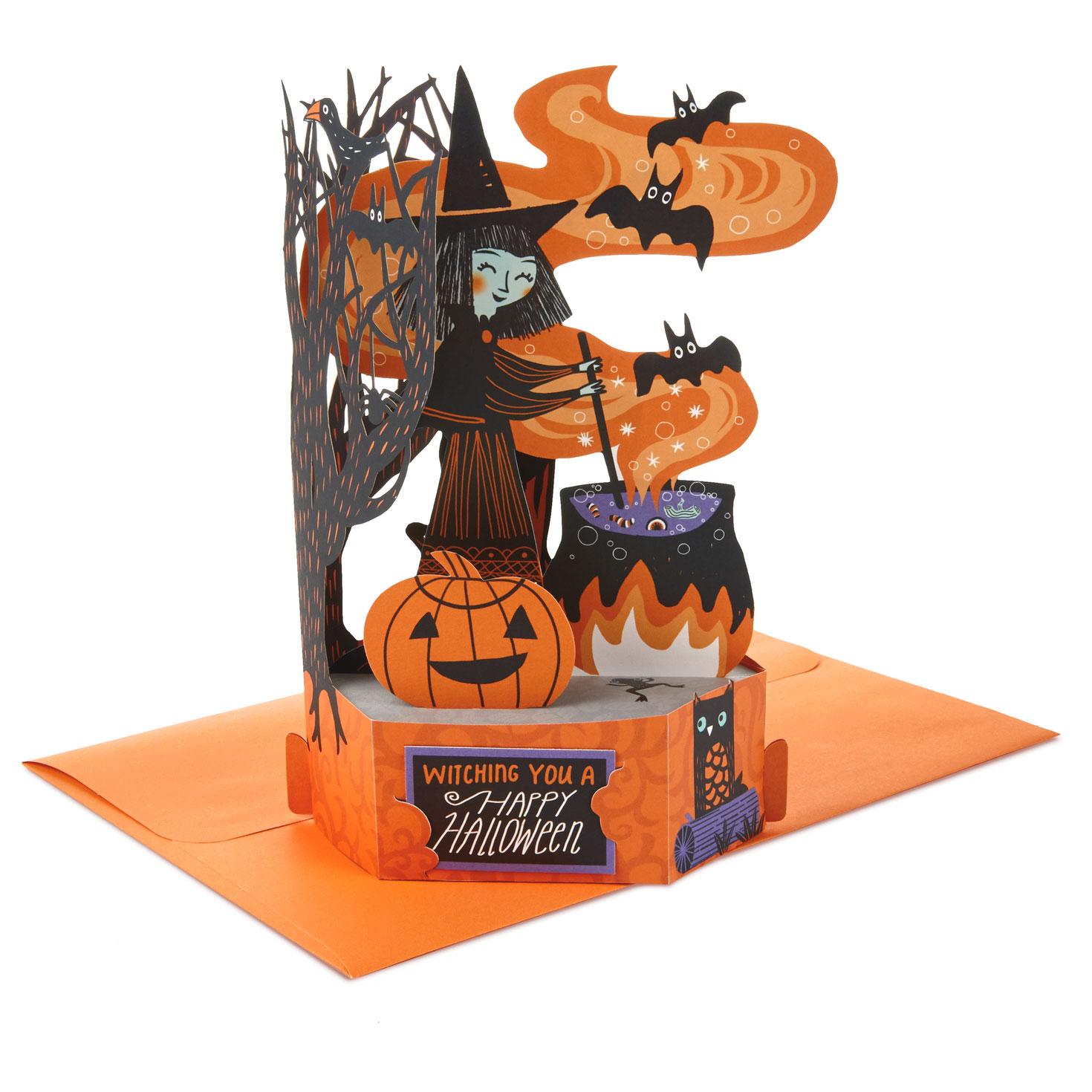 Halloween Pop.Witch And Cauldron Pop Up Halloween Card