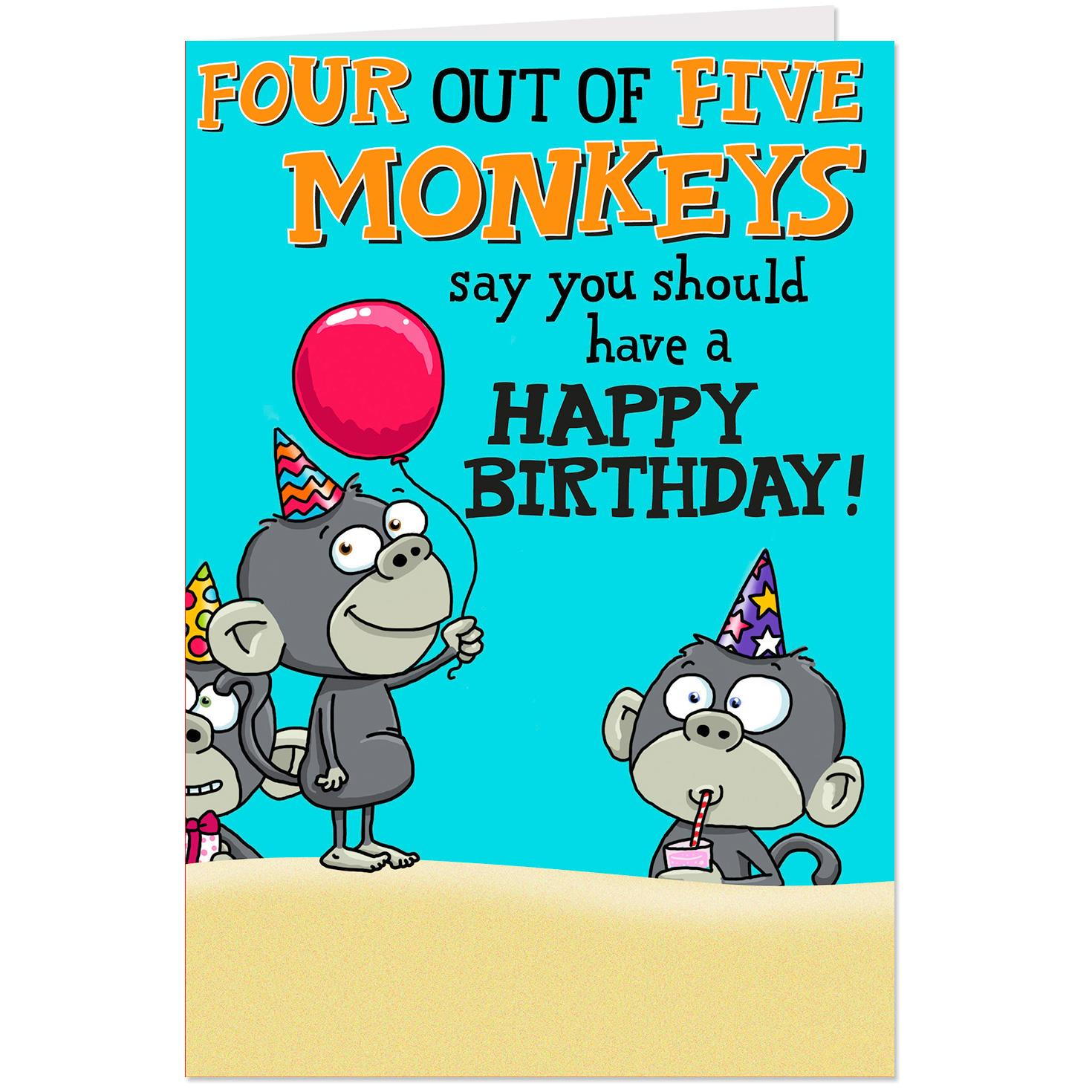 Four Out Of Five Monkeys Funny Pop Up Birthday Card From