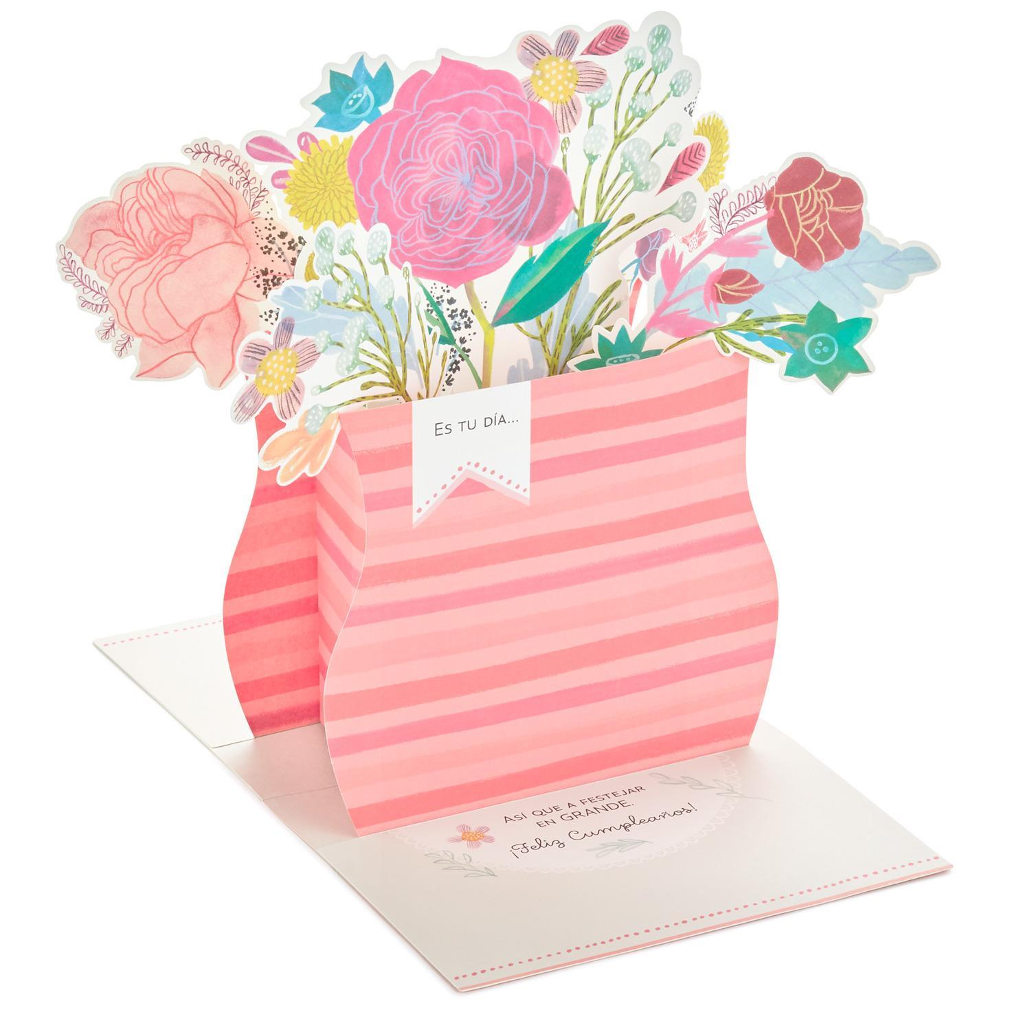 Flower Array Large Spanish-Language Pop Up Birthday Card, 12 ...