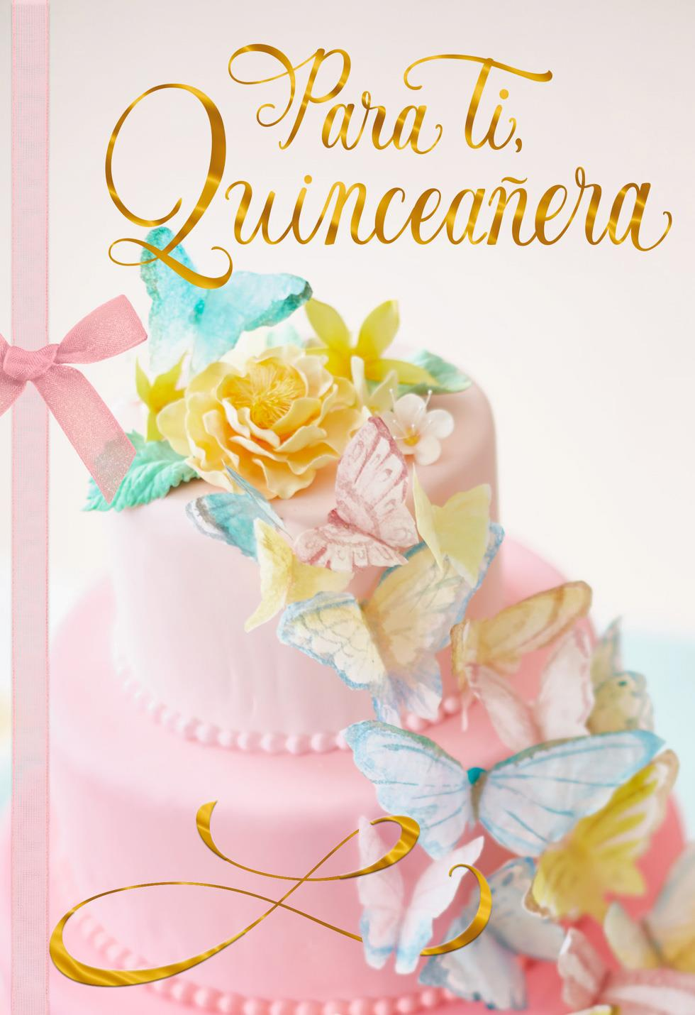 Butterfly Cake Spanish Language Quinceaera Card Greeting Cards