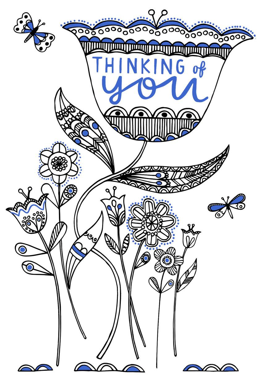 whimsical flowers thinking of you coloring card