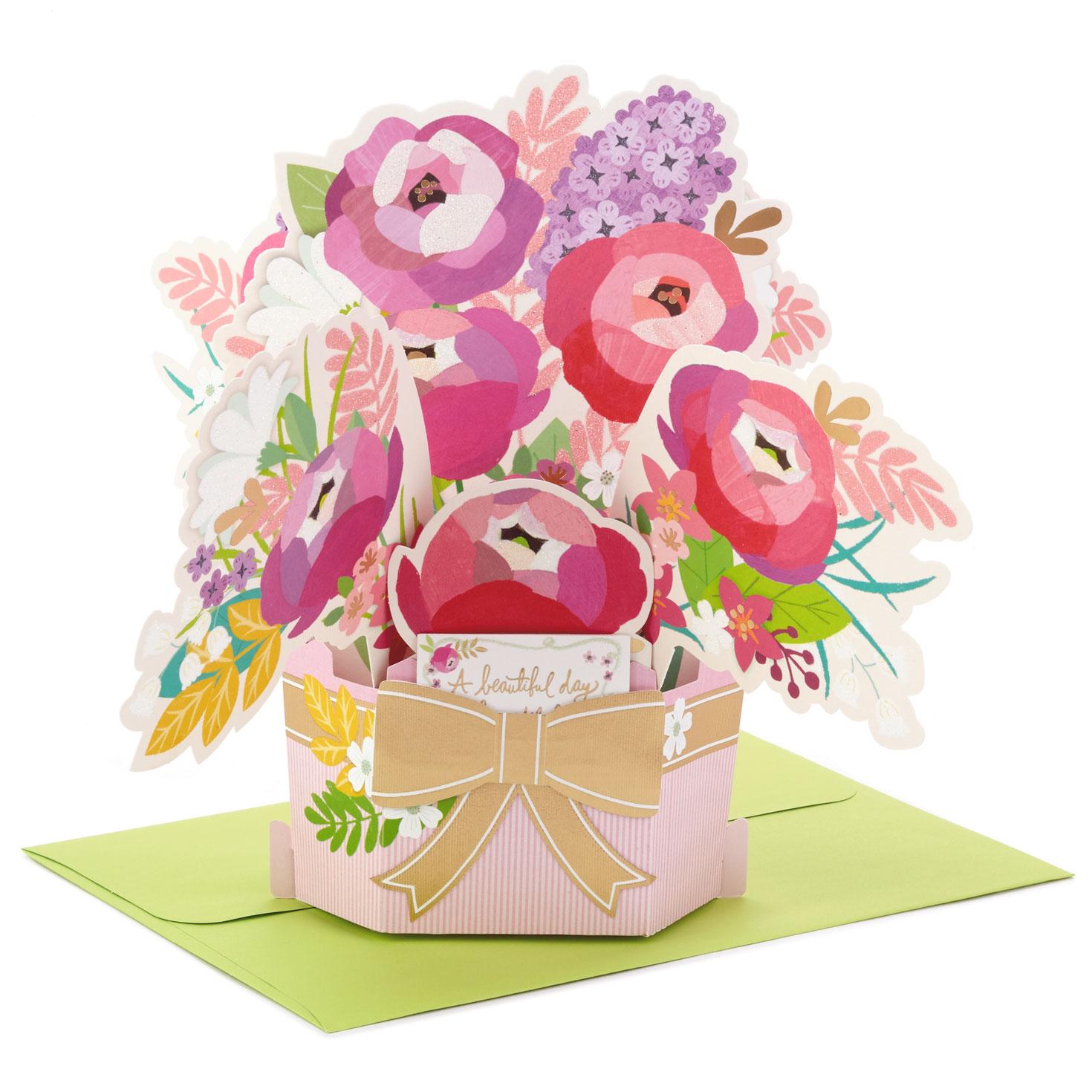 beautiful day flower bouquet 3d popup birthday card