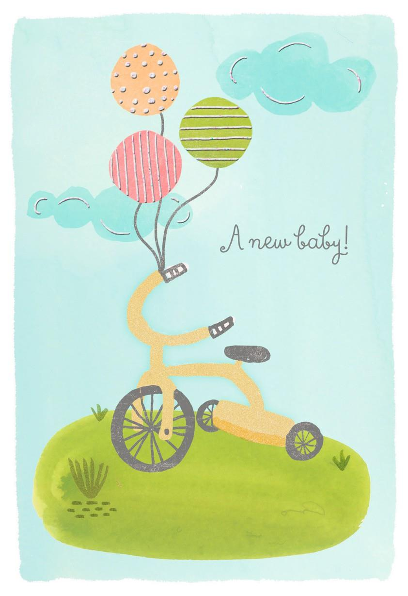 Tricycle New Baby Congratulations Card Greeting Cards