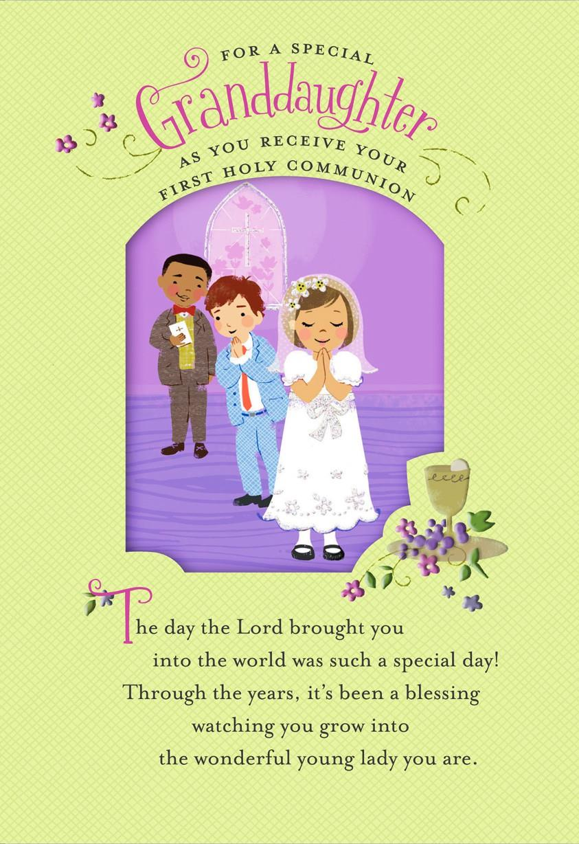 Children At Church First Communion Card For Granddaughter Greeting