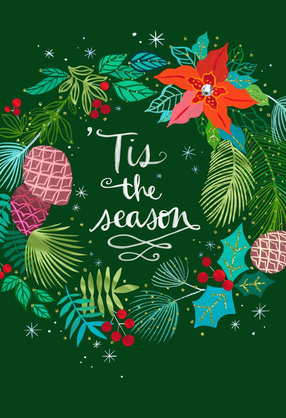 Tis the Season Festive Wreath Christmas Card - Greeting Cards - Hallmark
