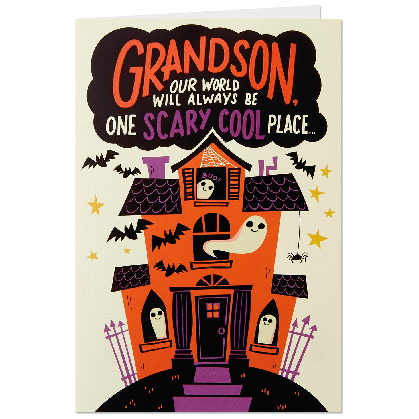 Haunted House Pop Up Halloween Card For Grandson Greeting Cards