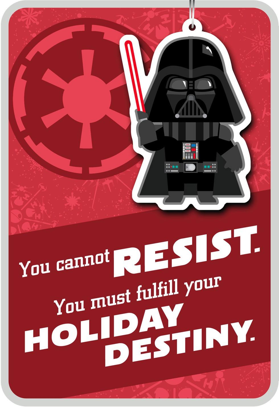 merry side darth vader u2122 christmas card with ornament