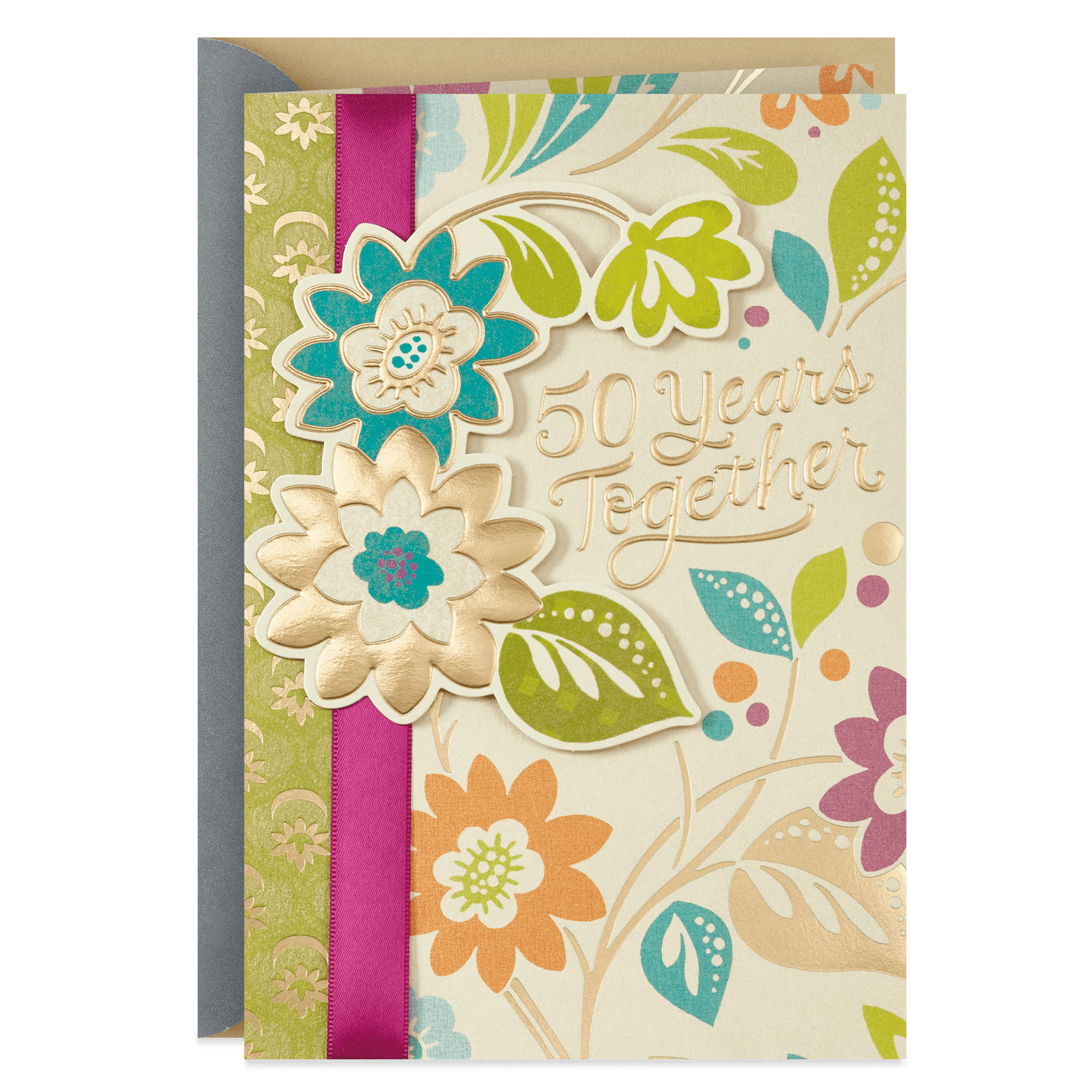 Bright Floral 50th Anniversary Card From Family