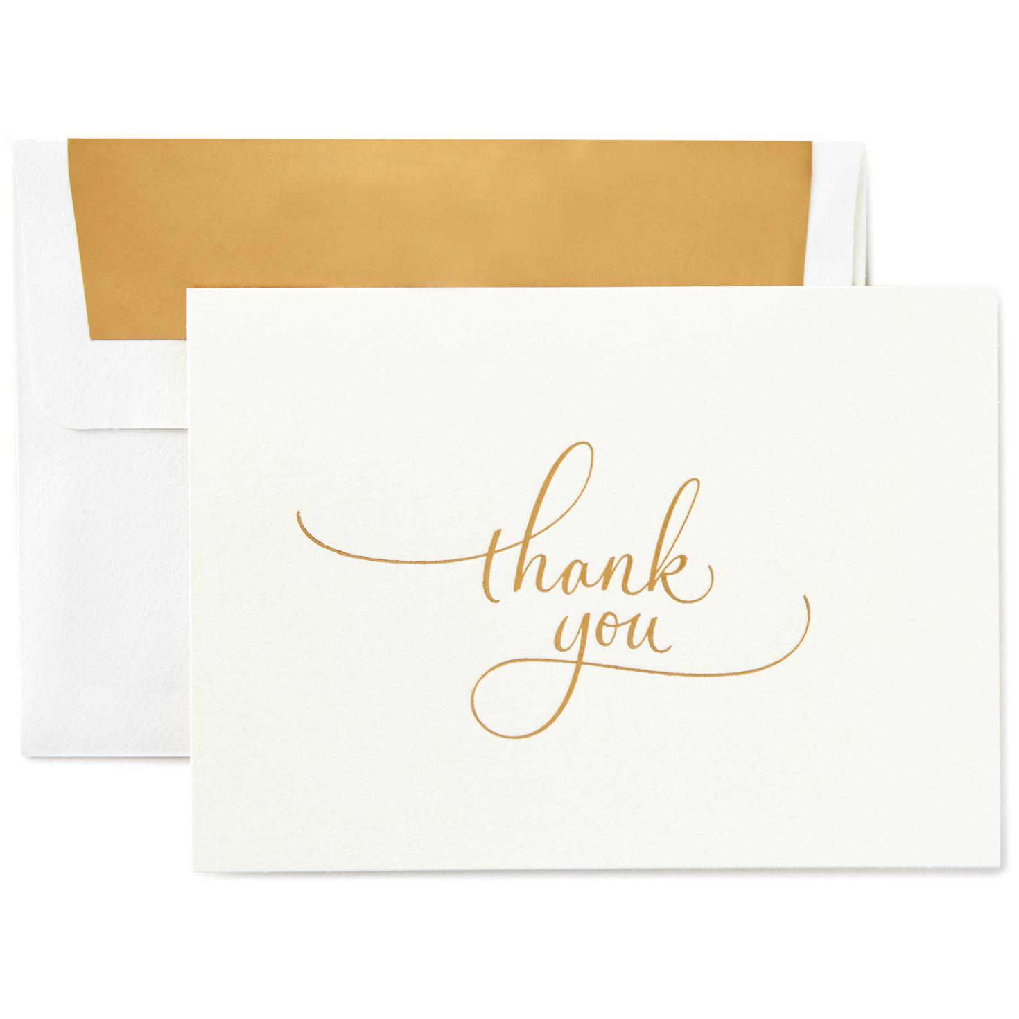 Gold Flourish Script Thank You Notes, Box of 10 - Note Cards - Hallmark