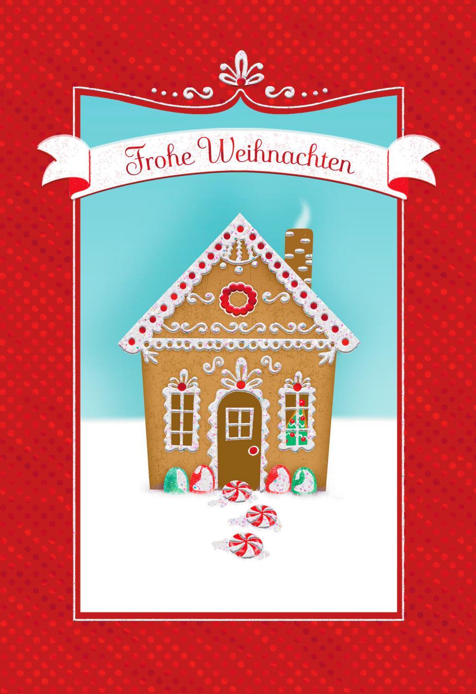 Gingerbread House German Language Christmas Card