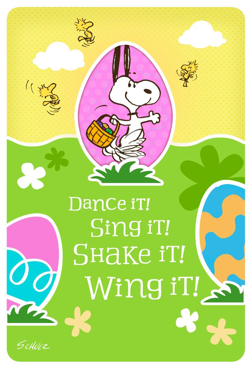Peanuts 174 Dancing Snoopy And Woodstock Kid S Easter Card