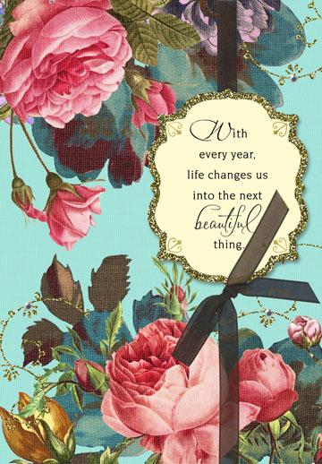 beautiful thing vintage floral birthday card  greeting
