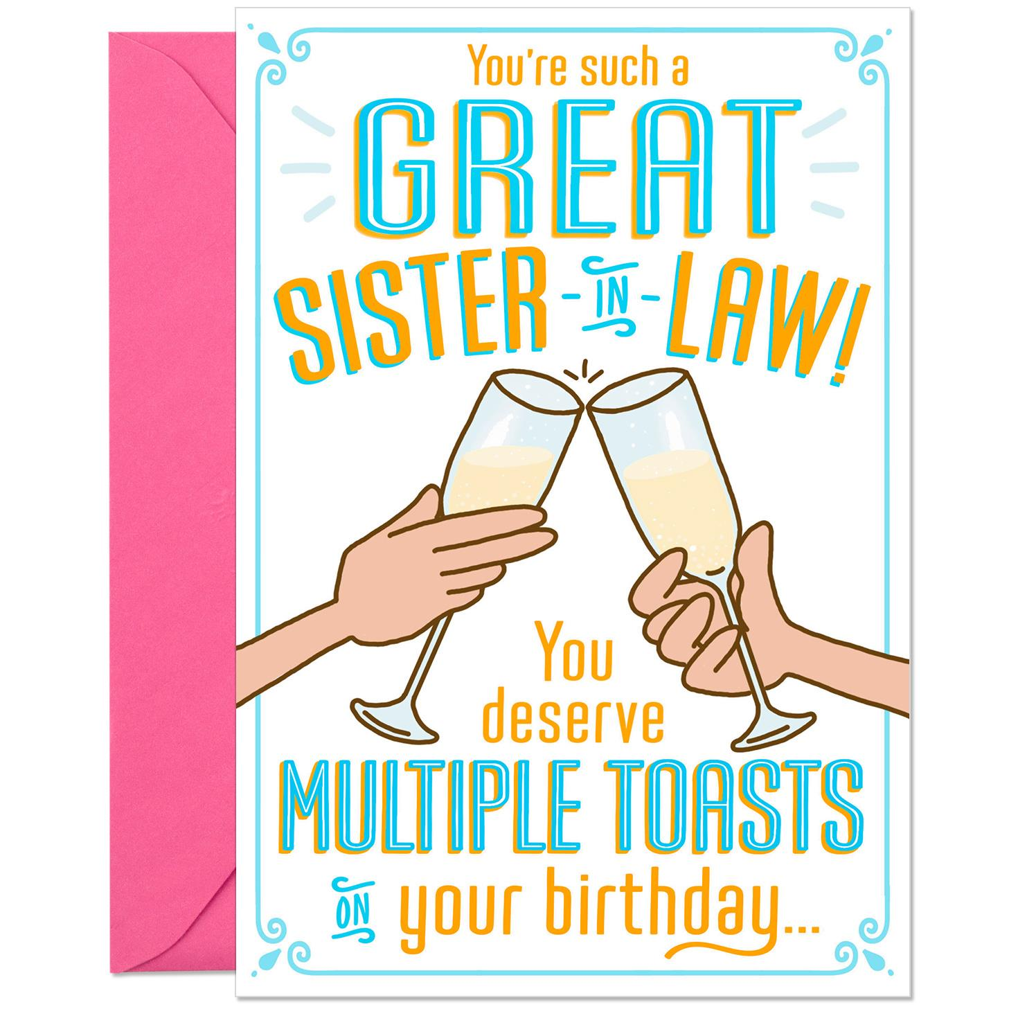 Multiple Toasts Funny Pop Up Birthday Card For Sister In Law