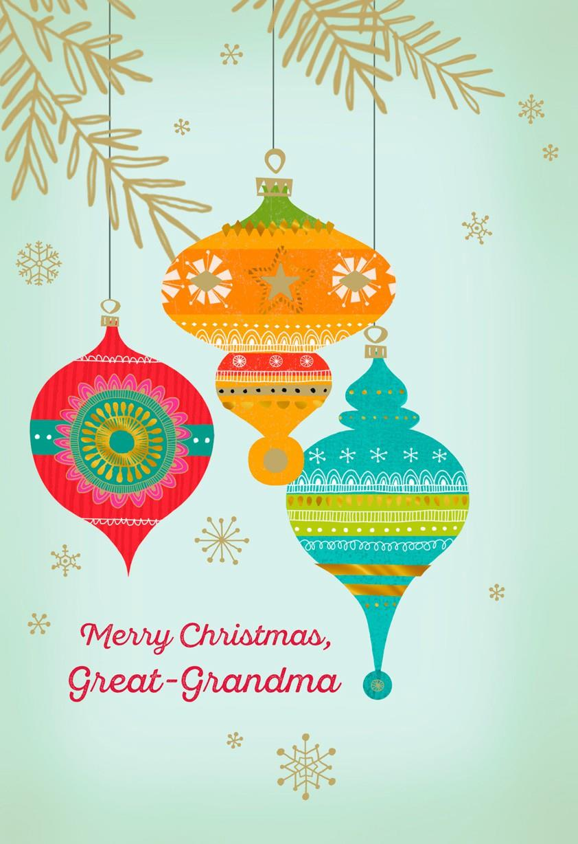 Great Grandma Ornaments Merry Christmas Card Greeting