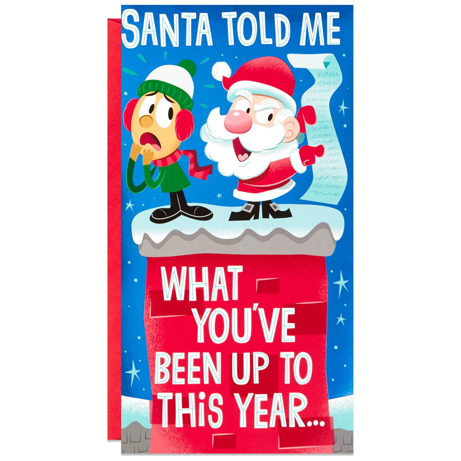 santas list funny money holder pop up christmas card - Christmas Card Money Holder