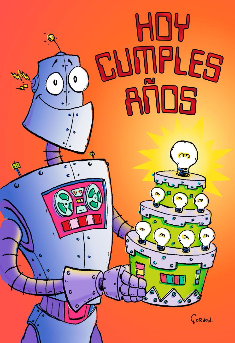Robot Cake Spanish Language Birthday Card For Child Greeting Cards