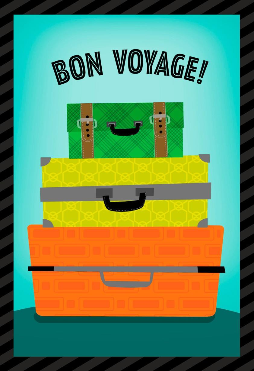 suitcases bon voyage card - greeting cards