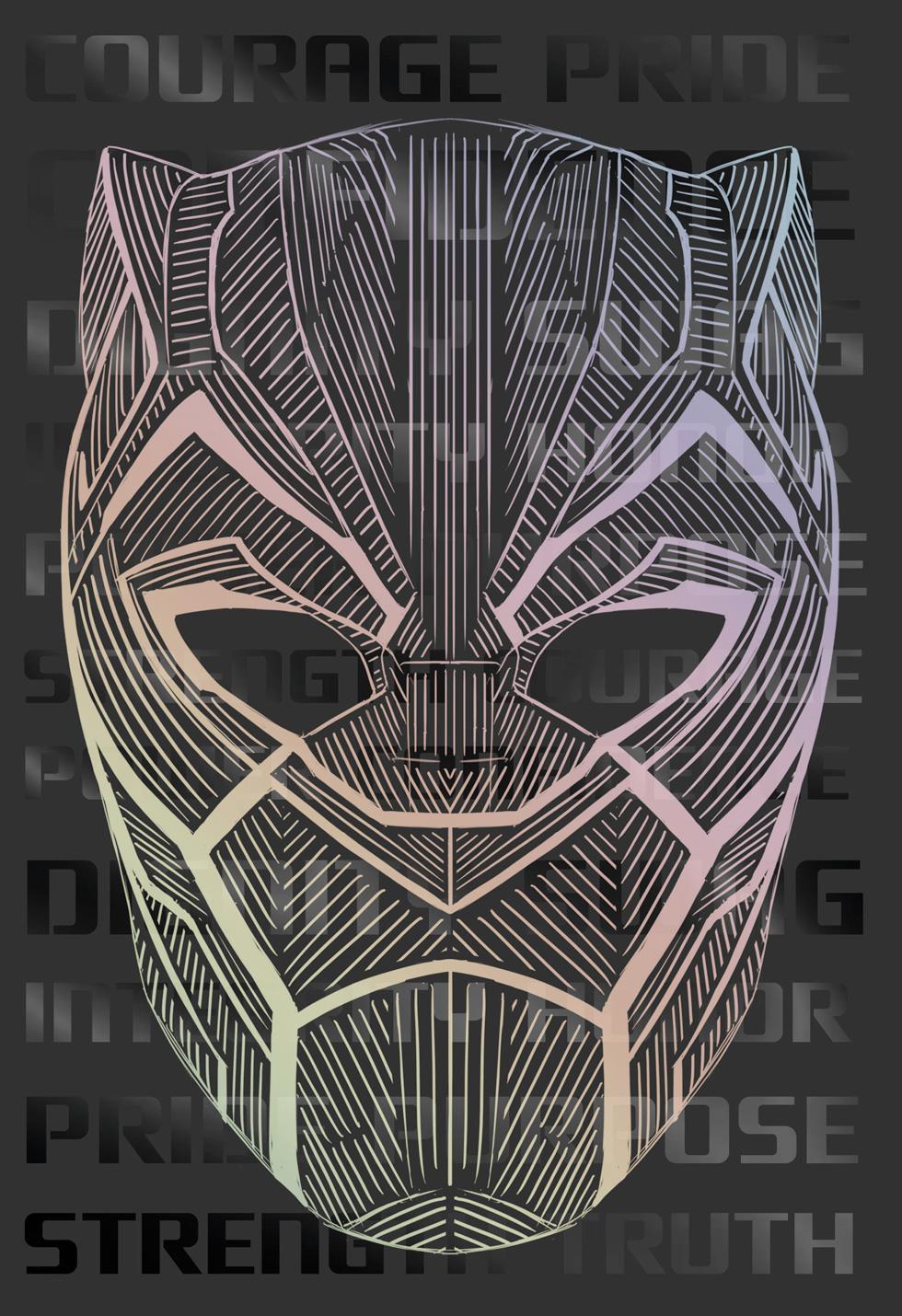 black panther hero mask birthday card