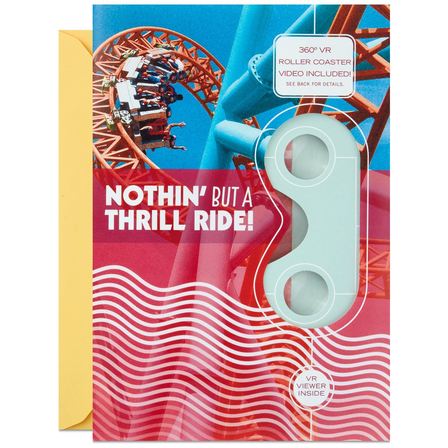 Thrill Ride Roller Coaster VR Birthday Card Greeting Cards
