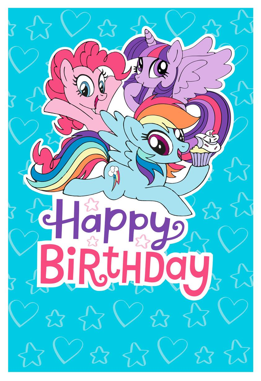 My Little Pony Hearts And Stars Birthday Card Greeting