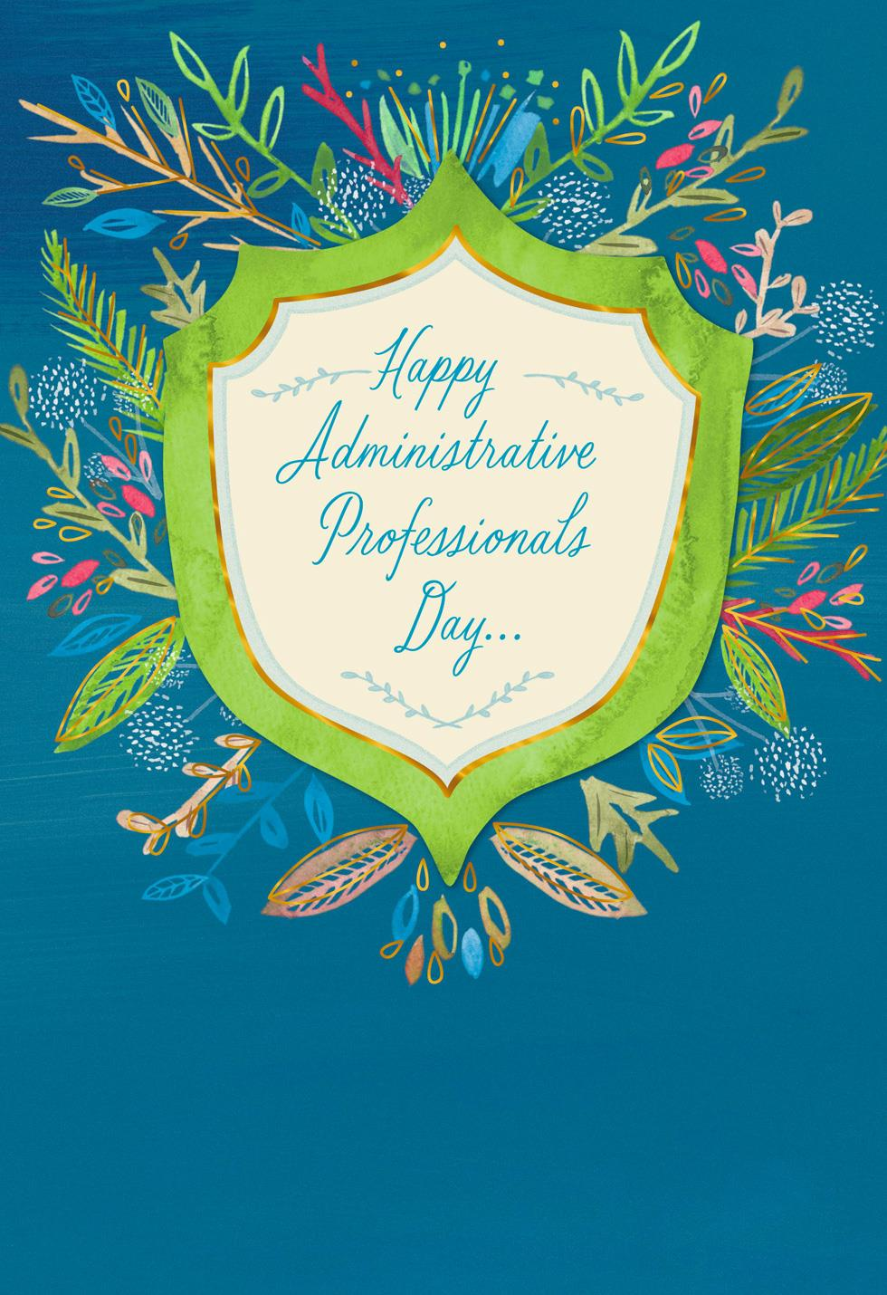 Flower Badge Admin Professionals Day Card - Greeting Cards ...