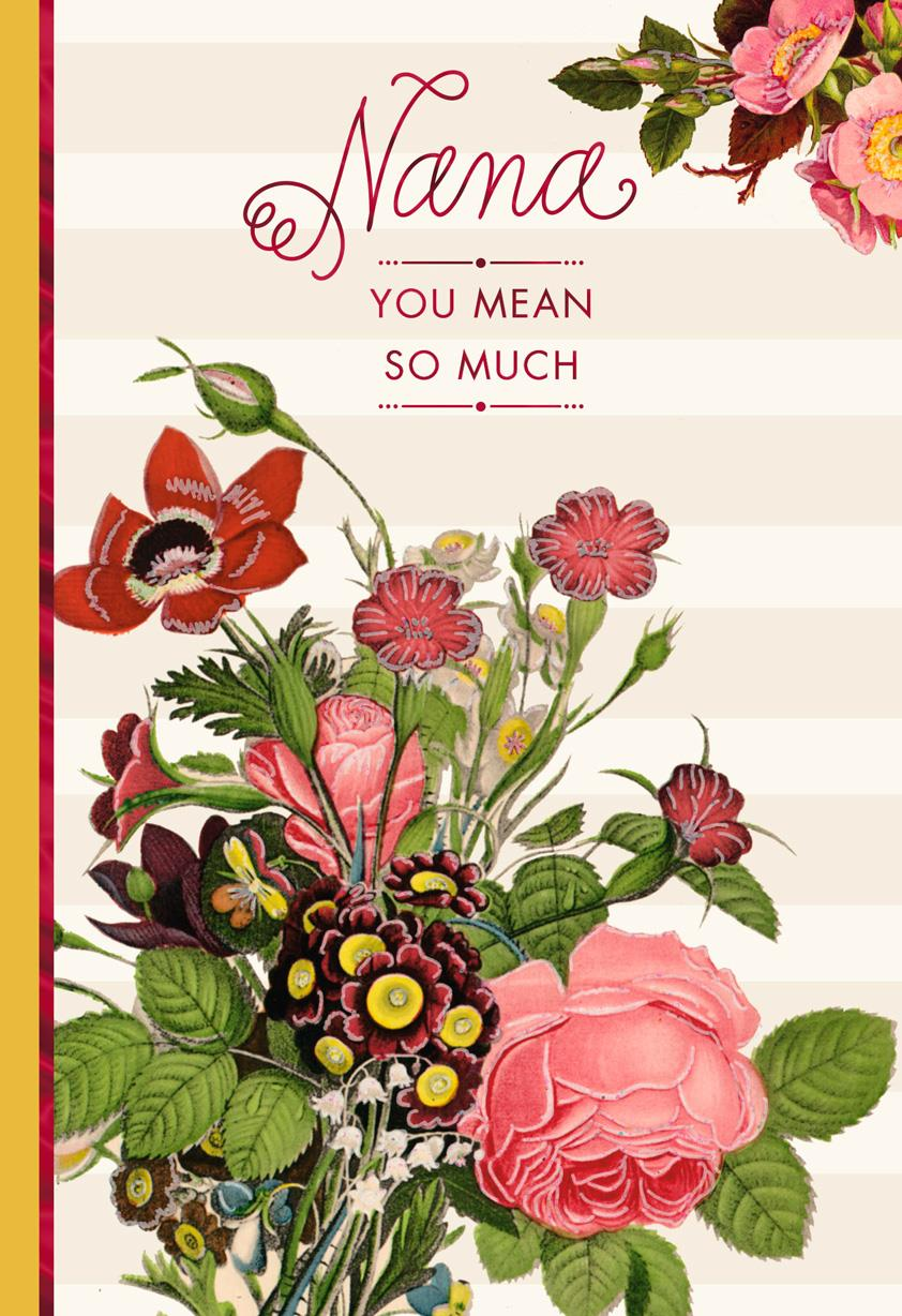 Pink flower bouquet birthday card for nana from us greeting cards pink flower bouquet birthday card for nana from us izmirmasajfo Image collections