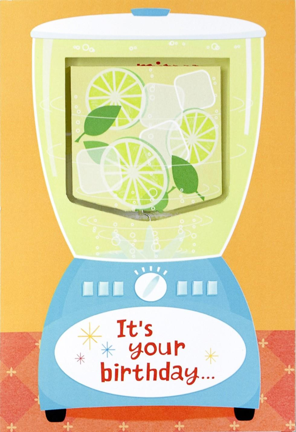 Blender and Mixed Drinks Musical Birthday Card With Motion – Musical Birthday Card