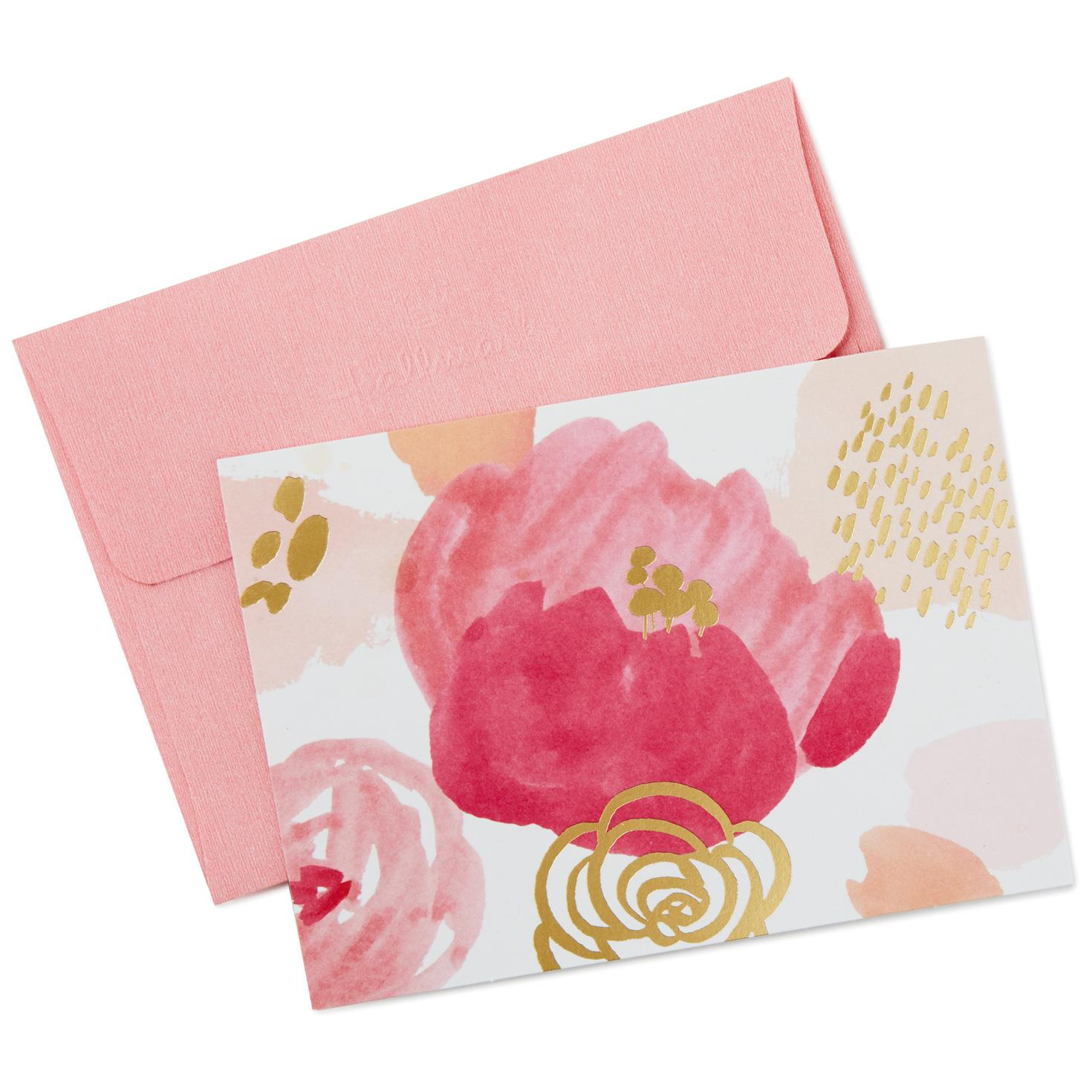 Abstract Pink Flowers Blank Note Cards Box Of 10 Note Cards
