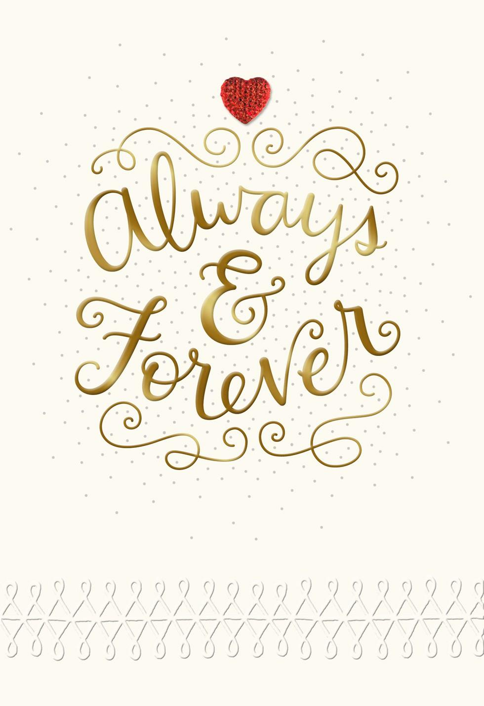 Always and Forever Wife Valentines Day Card Greeting Cards – Valentine Day Cards for Wife