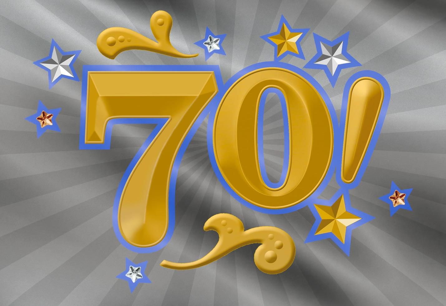 Vibrant Gold And Silver 70th Birthday Card Greeting