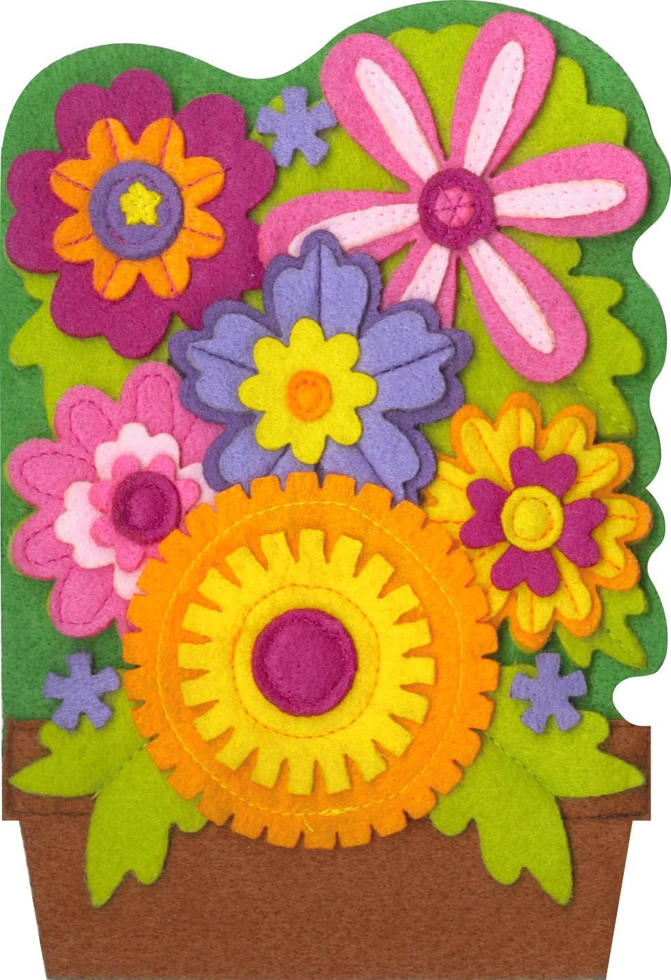 Flower pot felt musical birthday card greeting cards Hallmark flowers