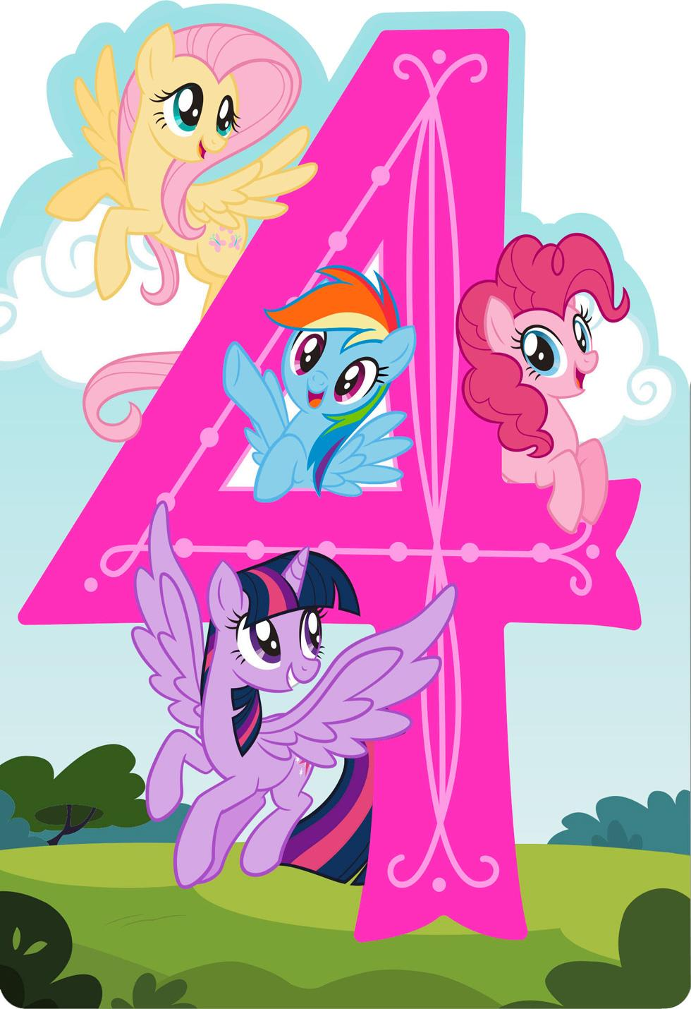 My Little Pony 174 Happy Spirit Musical 4th Birthday Card