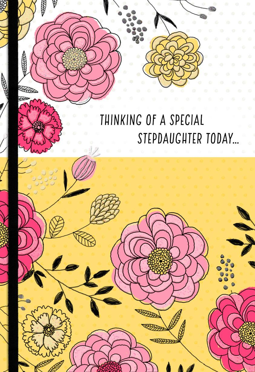 Pink And Yellow Flowers Birthday Card For Stepdaughter