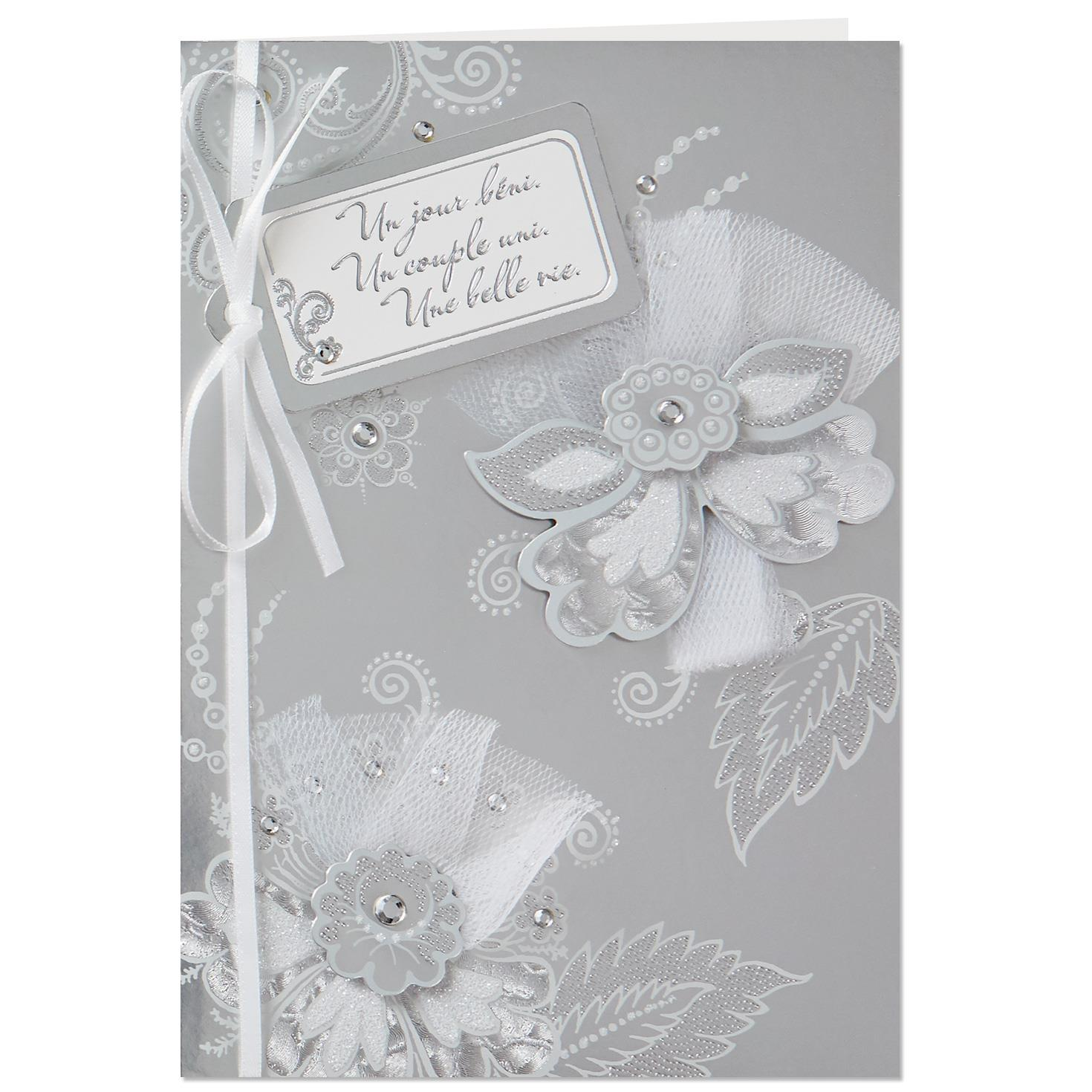 French Wedding Gifts: Flowers And Gift Tag French-Language Wedding Card