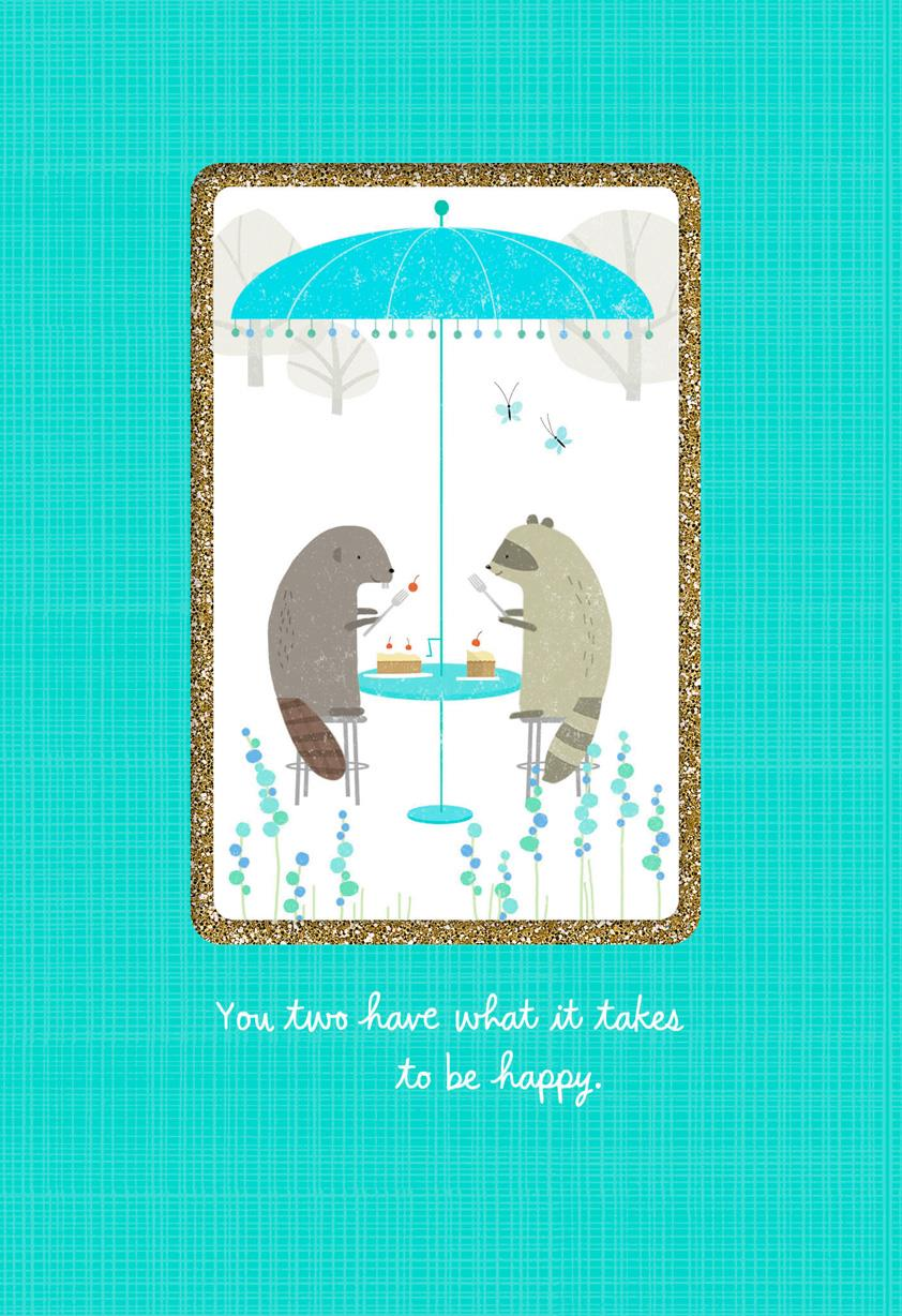 Beaver And Raccoon Anniversary Card Greeting Cards