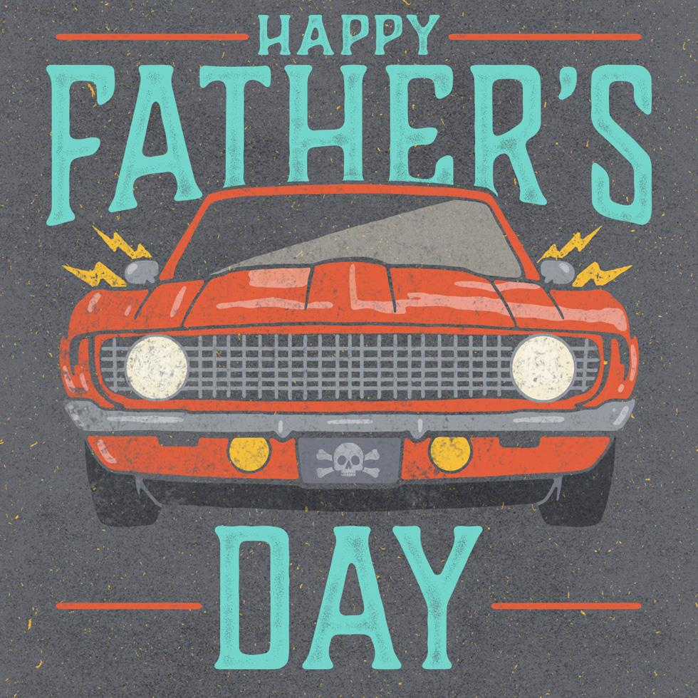 Classic Car Bad Ass Dad Musical Father S Day Card