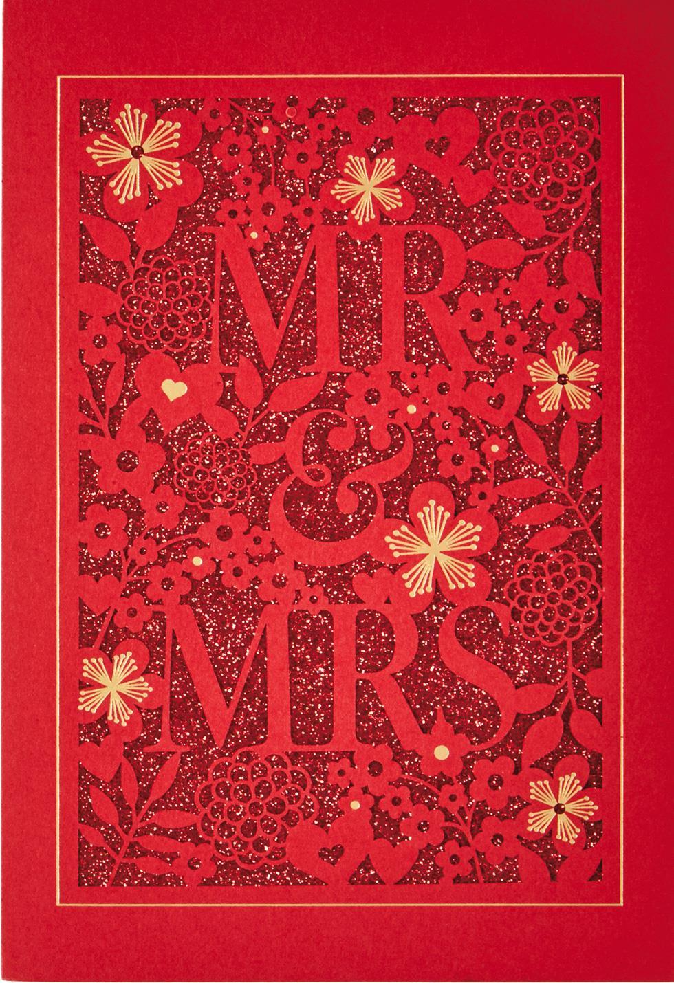 mr  u0026 mrs chinese-language wedding card