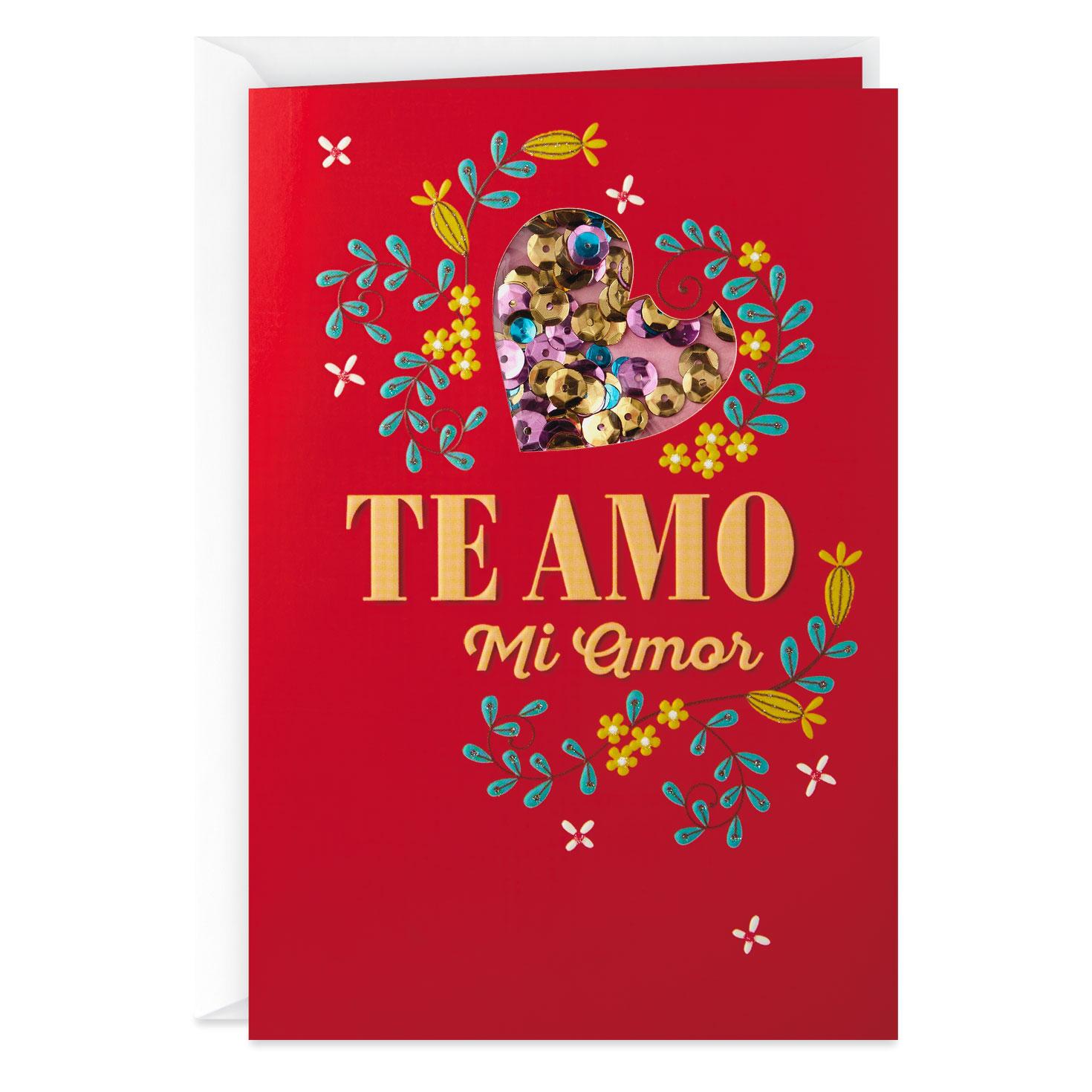 photograph about Spanish Birthday Cards Printable called Te Amo, Mi Amor Spanish-Language Take pleasure in Card