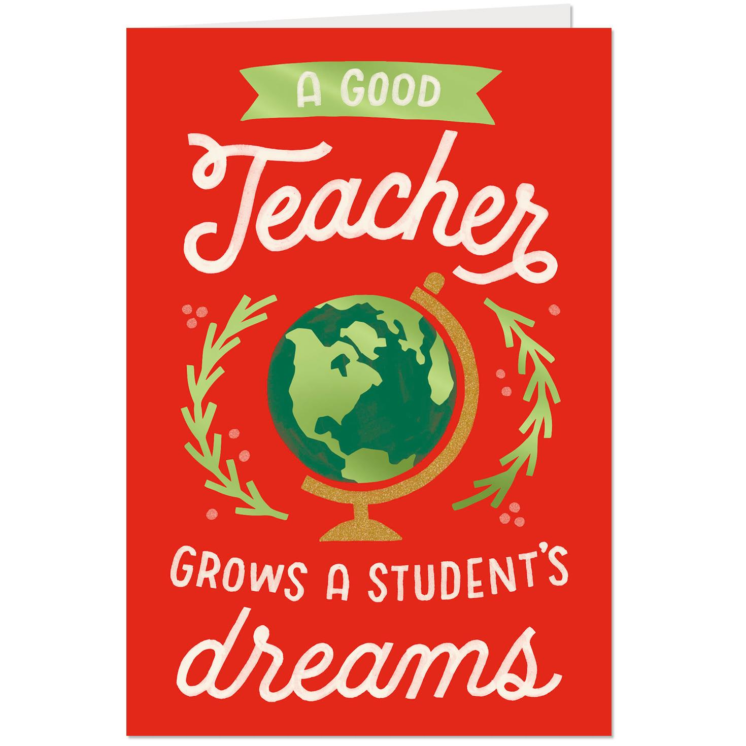 grow dream christmas card for teacher