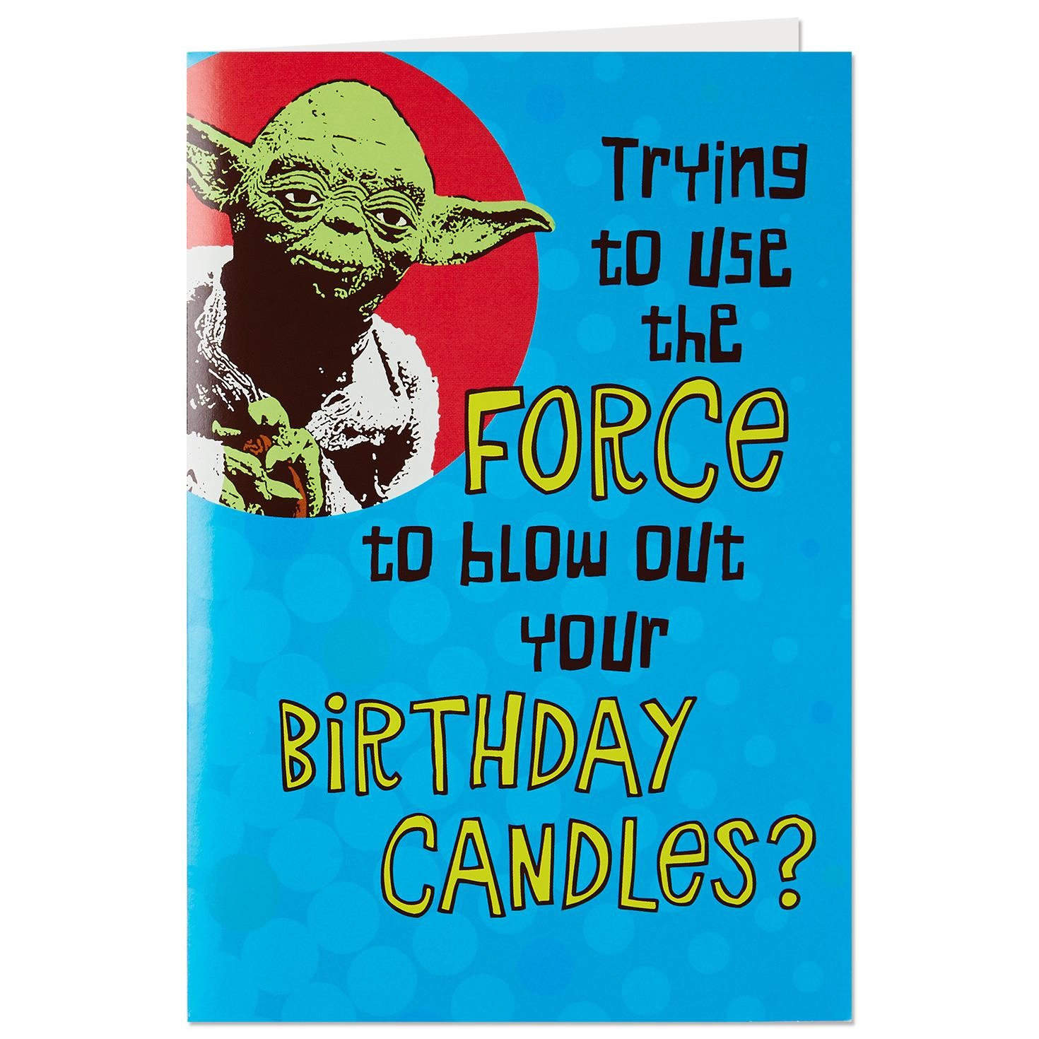 Star Wars Yoda Trick Candles Birthday Card With Sound And Light