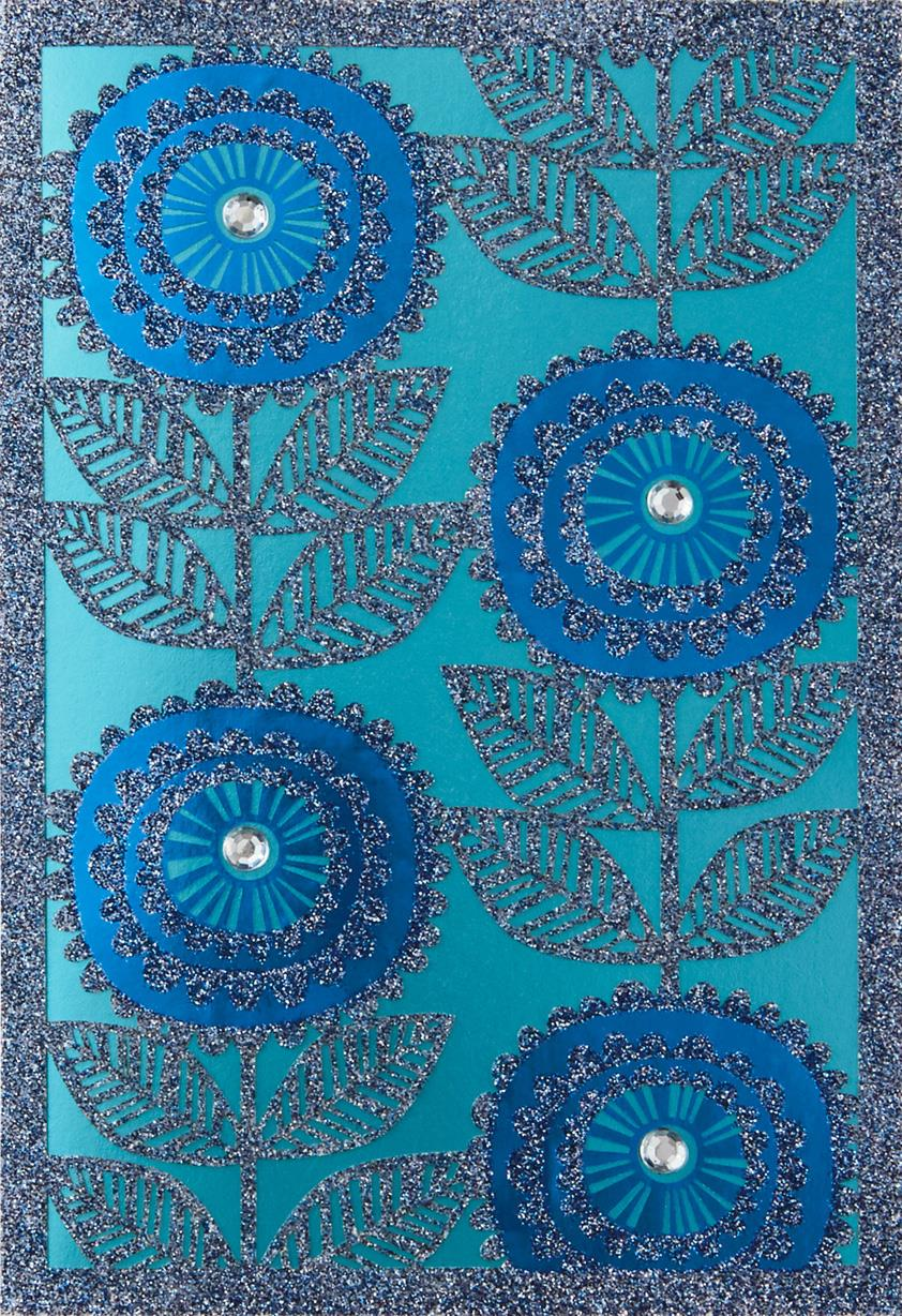 Blue sparkle flowers blank card greeting cards hallmark Hallmark flowers