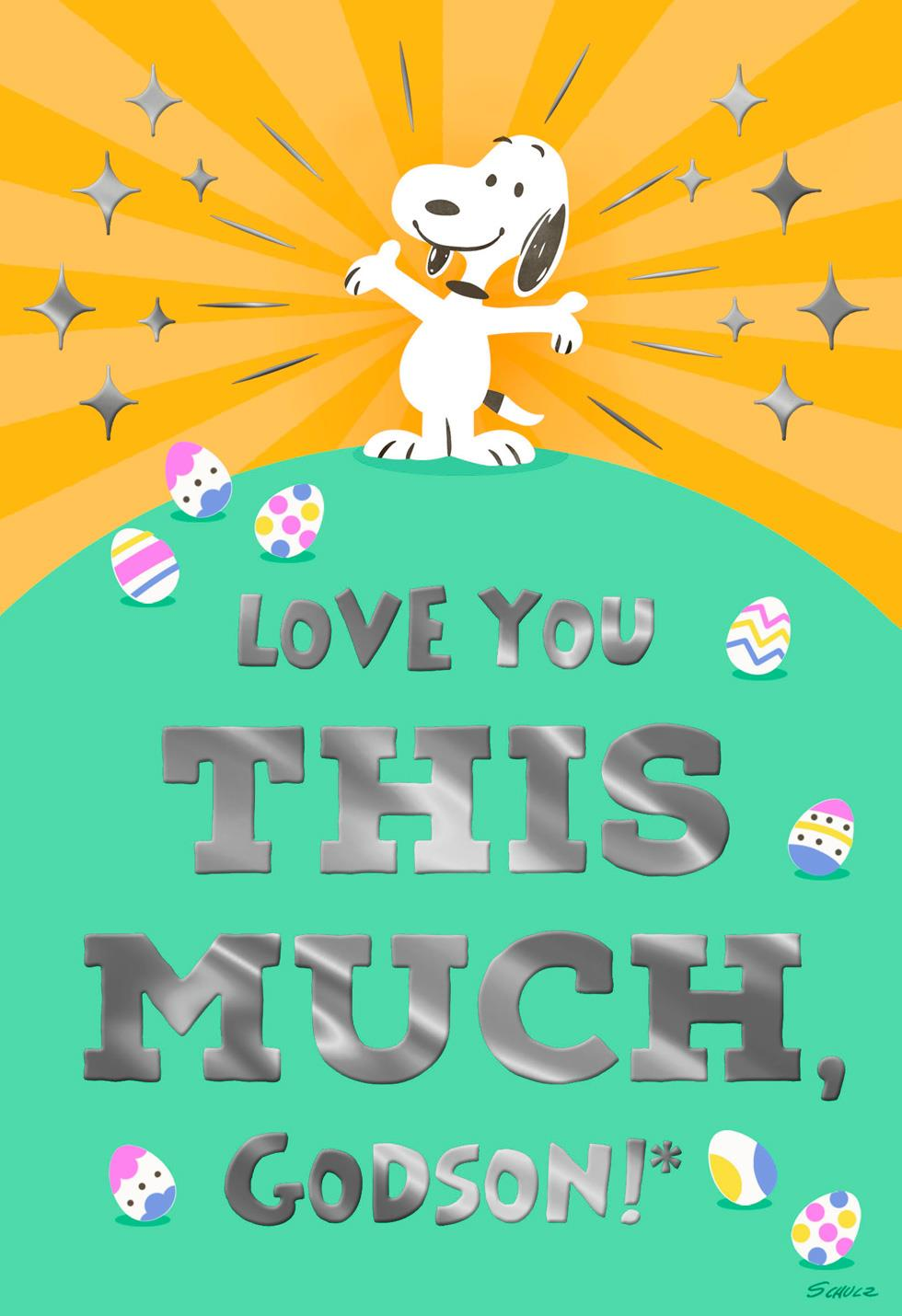 Peanuts Snoopy Love You This Much Godson Easter Card