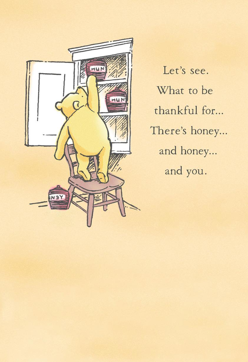 Disney Winnie The Pooh Thankful For You Thanksgiving Card