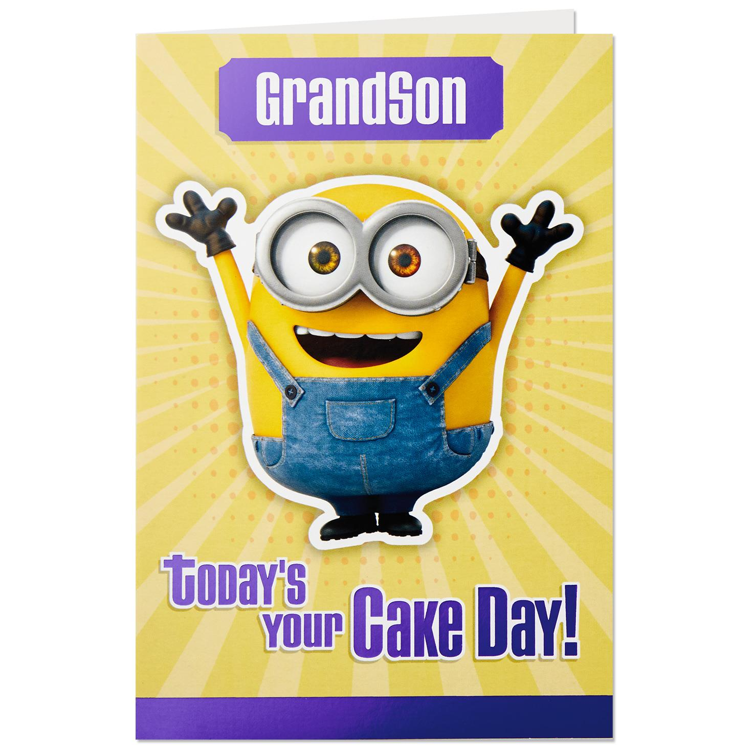 Despicable Me Minions Cake Day Birthday Card For Grandson Greeting