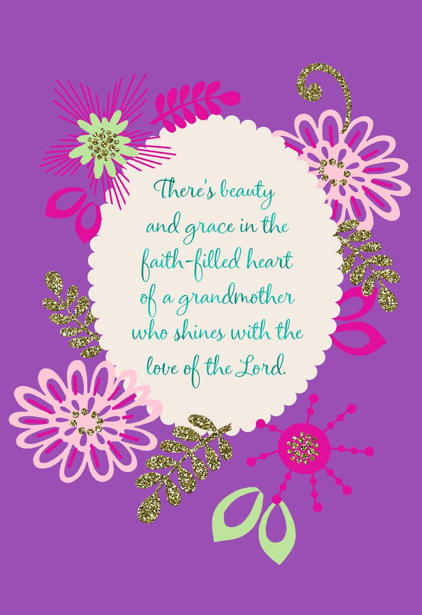 Beauty And Grace Religious Birthday Card For Grandmother