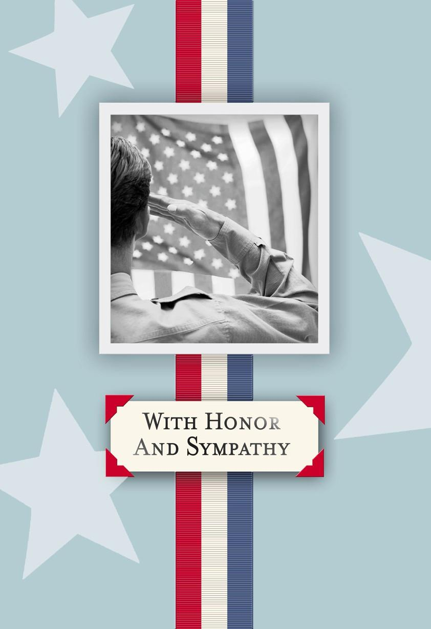 ribbon military personnel sympathy card