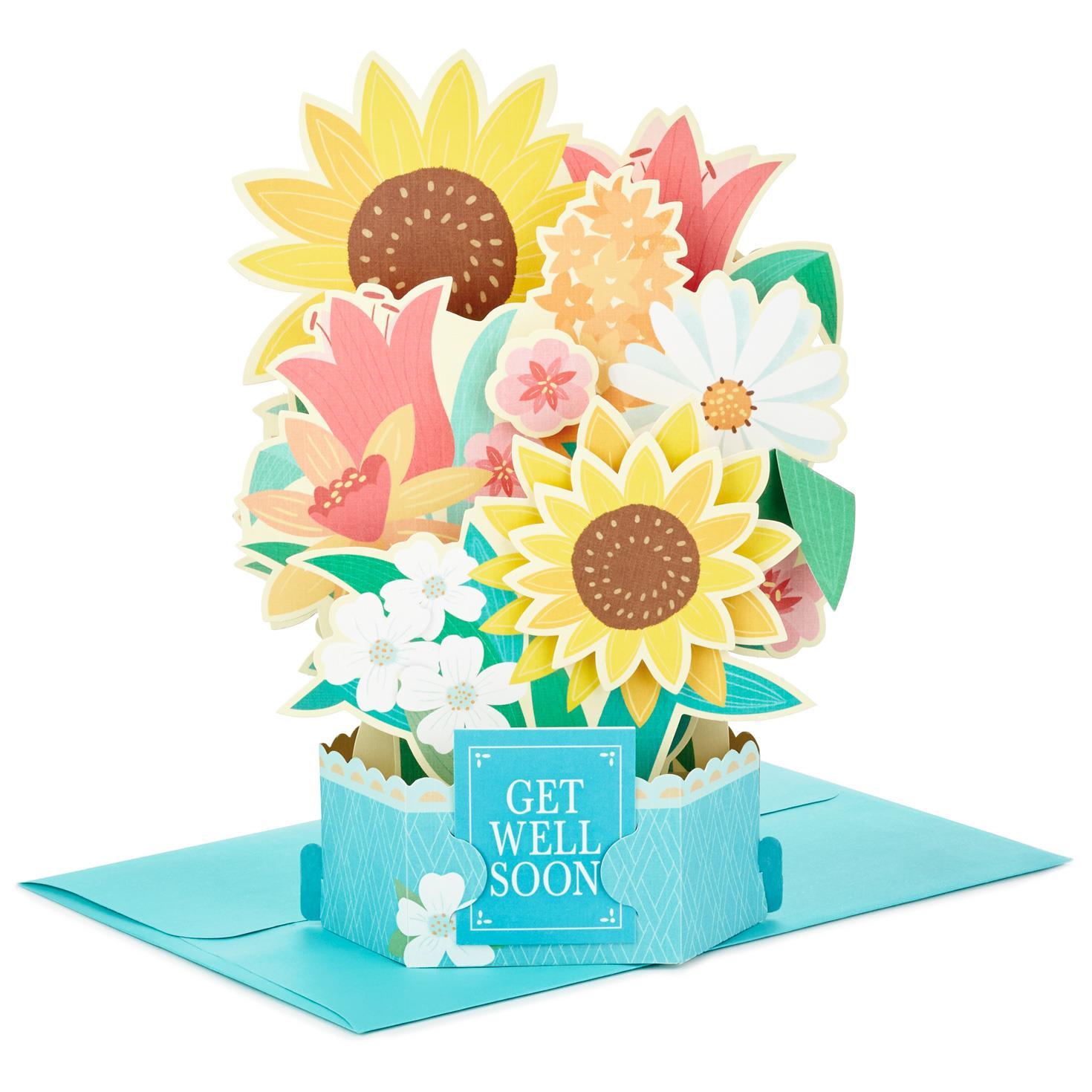 Sunflower Bouquet Pop Up Get Well Card - Greeting Cards - Hallmark