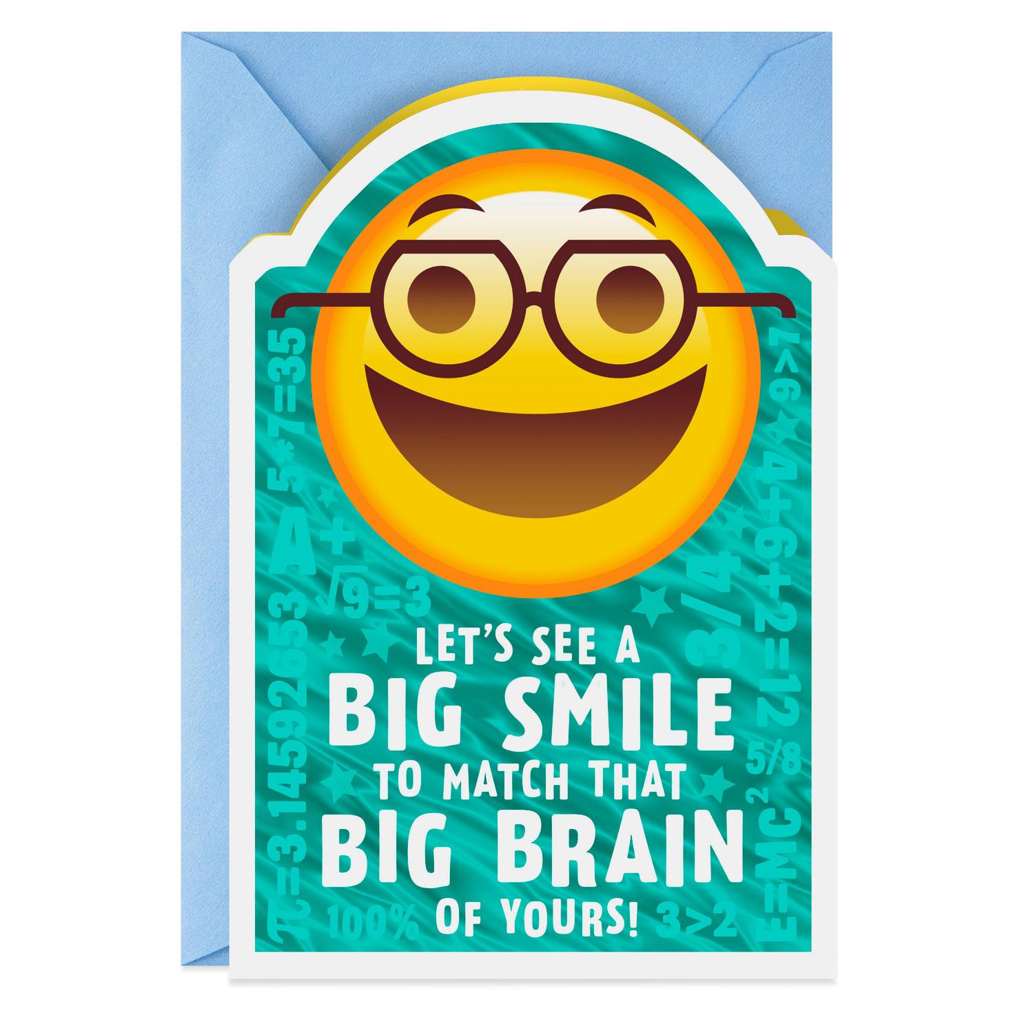Big Brain Smile Emoji Graduation Card Greeting Cards