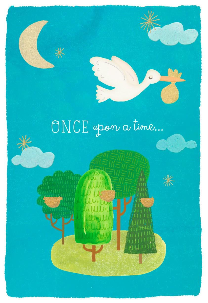 Once Upon a Time Stork New Baby Congratulations Card | Tuggl