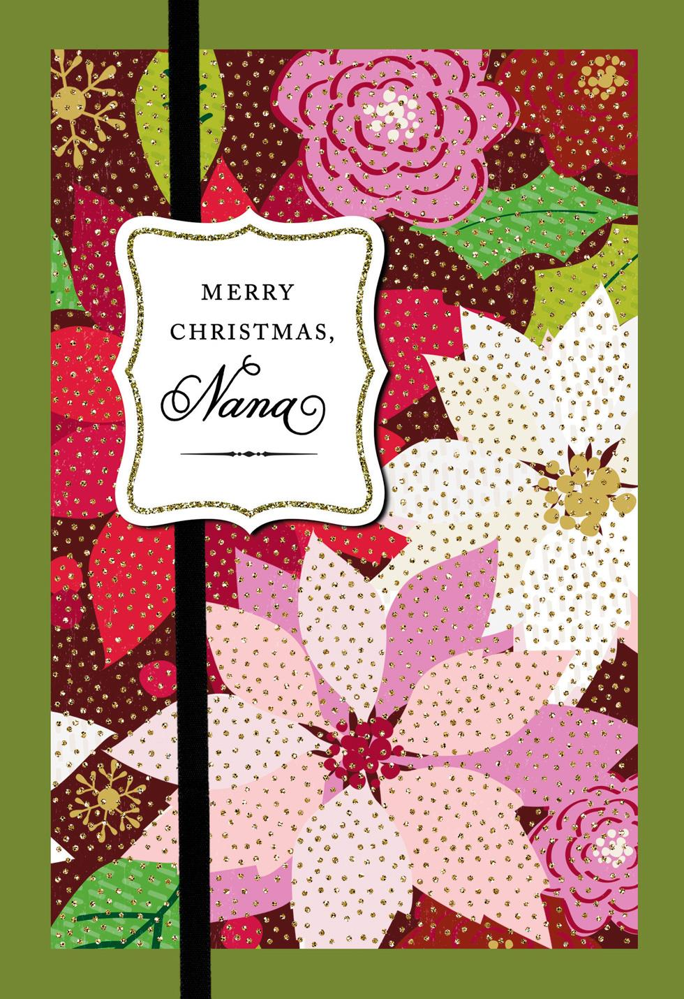 Colorful Poinsettias Christmas Card For Nana Greeting